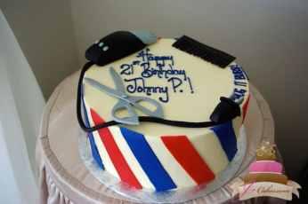 (114) Barber Shop Birthday Cake