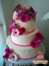 (1087) Pink Floral Wedding Cake with Cornelli Lace Piping