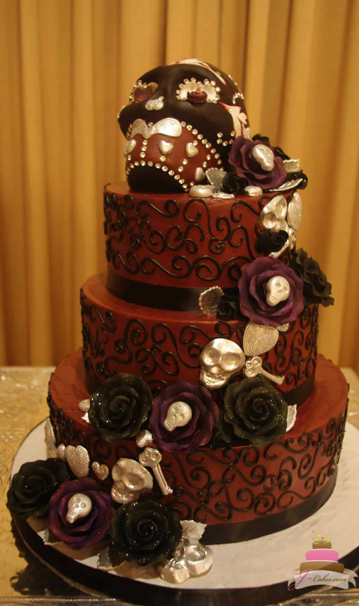 Beautiful and Delicious Wedding Cakes in CT  1148  Sugar Skull Wedding Cake