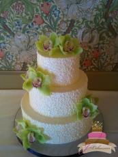 (1090) Cornelli Lace Wedding Cake with Orchids