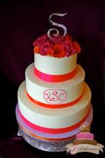 (1136) Bright Pink Monogram Wedding Cake