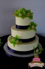 (1003) Dot and Monogram Wedding Cake