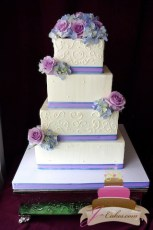 (1005) Square Wedding Cake with Dots and Scrolls