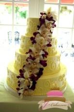 (1039) Orchid Cascade Wedding Cake