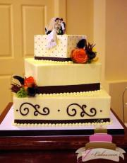 (1081) Square Wedding Cake with Dots and Scrolls