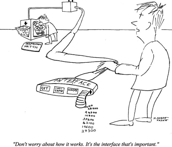 Cartoon of experimenter peering into innards of complicated piece of machinery. His colleague is holding a plug coming out of it labelled INTERFACE: 'GET' 'INCOME' 'WAGES' and saying 'Don't worry about how it works. It's the interface that's important.'