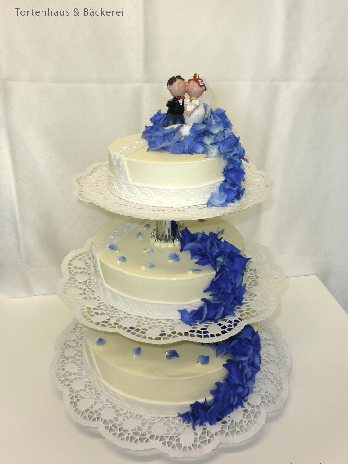 Hochzeits Torte Blauer Akzent Auf Jade