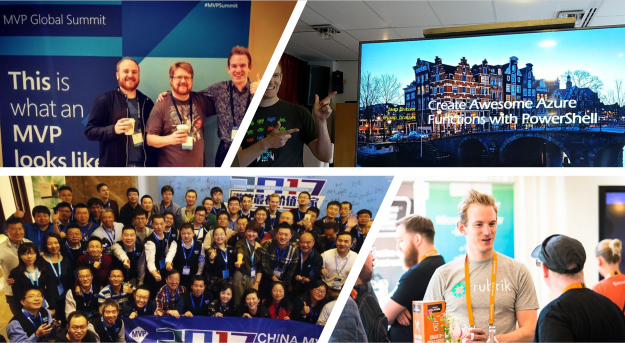 1st: Chris Wahl, Mike Fal and me, Rubrik MVPs at the MVP Summit, 2nd: June 2018, Dutch PowerShell User Group, 3rd: MVP Community Connection in Hangzhou, meeting Chinese MVPs, 4th: Speaking to attendees at Spiceworks AllAccess Amsterdam