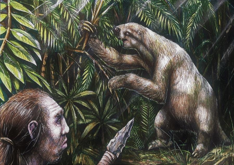 Paleokunst schilderij met de neanderthaler en de grond luiaard getekend door paleokunstenaar Jaap Roos