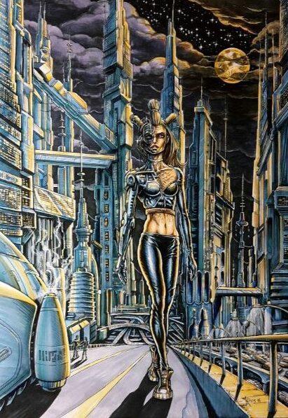 Cartoon tekening van cyborg sexy vrouw van een sci-fi stadsbeeld. Dit stadsbeeld is ontworpen door Jaap Roos.
