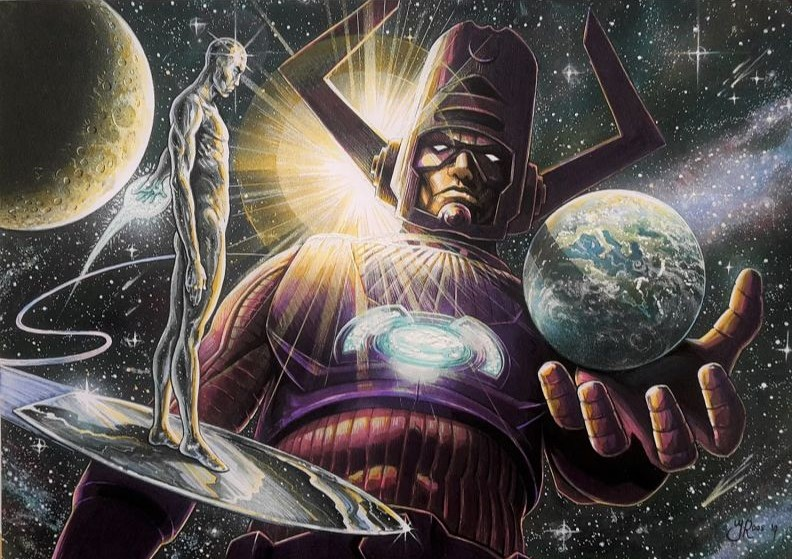 Cartoon tekening galactus & silver surfer, marvel comics.