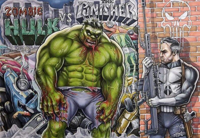 Striptekening hulk vs punisher, marvels comics art