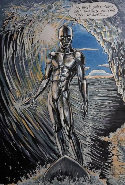 Striptekening Cartoon silver surfer