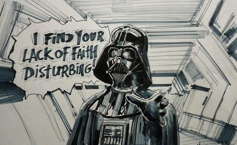 Cartoon tekening van Darth Vader, Star Wars gemaakt door cartoonist Jaap Roos