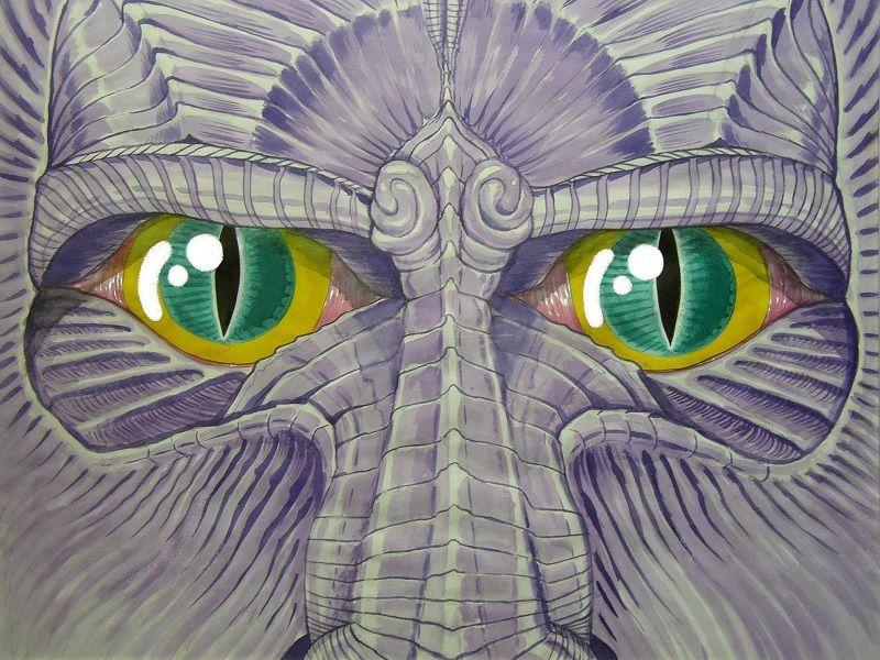 Tekening met draak en grote ogen getekend door kunstenaar Jaap Roos