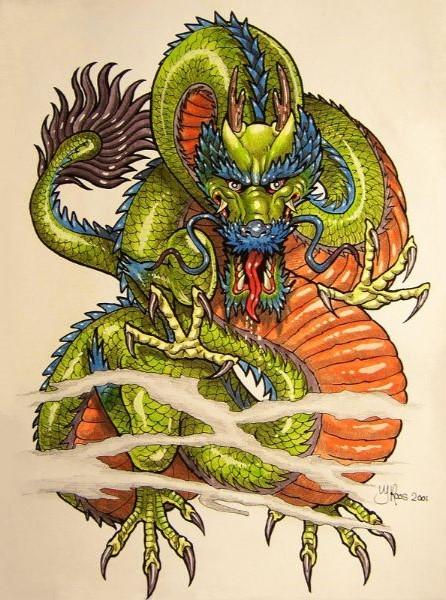Chinese stijl tekening van een draak