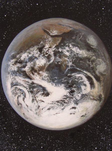 Schilderij van de aarde gemaakt door bekend hedendaags kunstenaar Jaap Roos