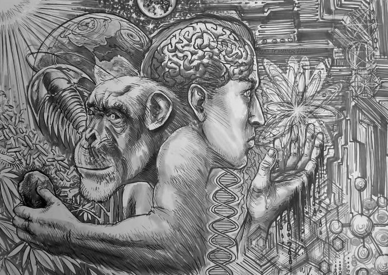 Artistiek eigen fantasie tekening over de evolutie van de mens, getekend door artist Jaap Roos