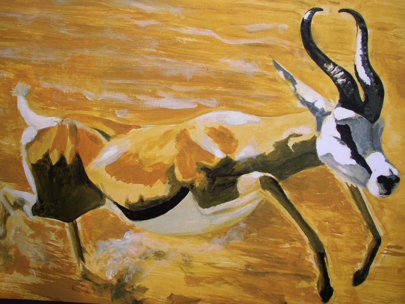 Natuur Schilderij van het dier de gazelle. Dieren schilderij van de gazelle in het natuurlandschap