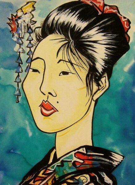 Comic art, Geisha. Getekend door Jaap Roos art