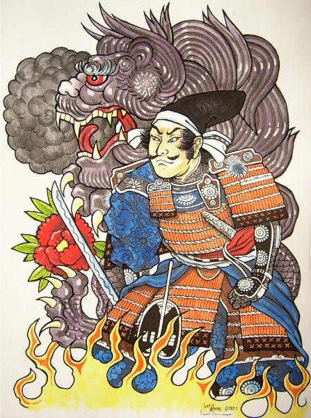 Tekening japanese style, met japanse draak en japanse krijger