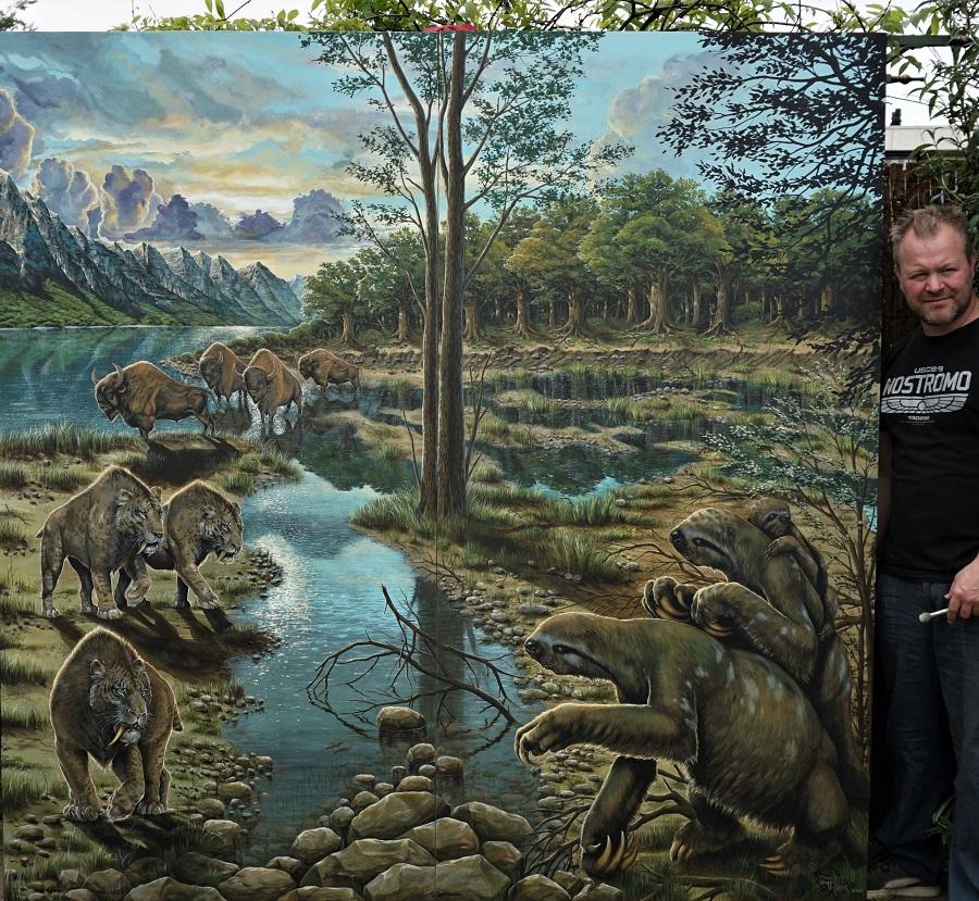 muurschildering paleoart landschapschildering met de grondluiaard,sabeltandtijger/oertijger en oeros. Decoratiewerk voor museum Historyland