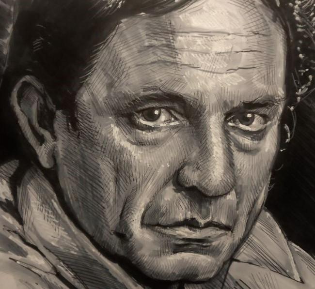 Portrettekening van bekende muzikant Johnny Cash