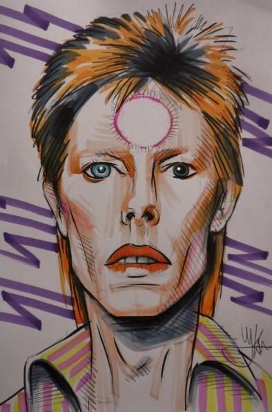 Kunst schilderij van muzikant David Bowie