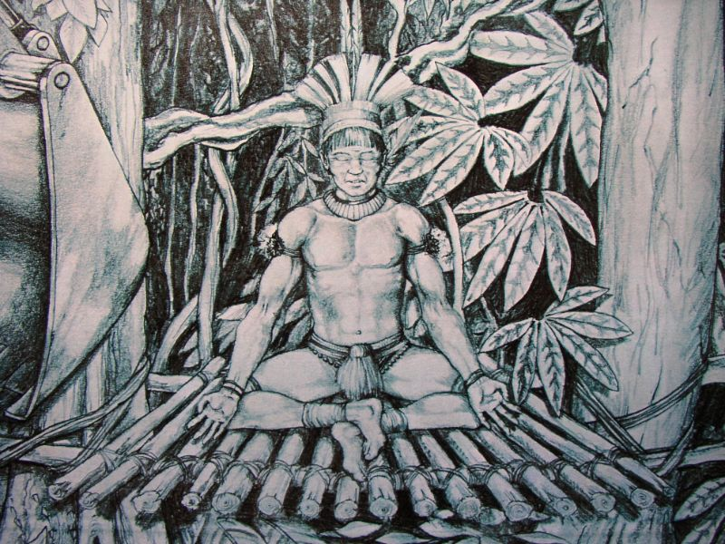 Tekening over de onderdrukking van de indianen . Getekend door hedendaags bekende kunstenaar Jaap Roos.