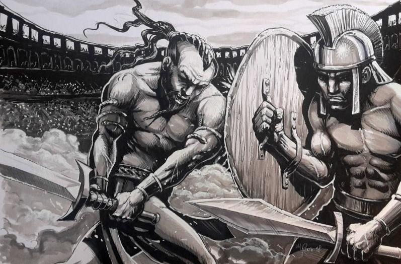 Potlood tekening van romeinen in gevecht in een arena. Illustratie gemaakt door Jaap Roos