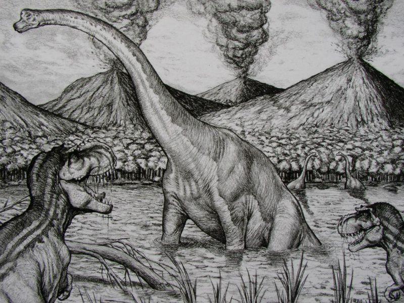 Ontwerp tbv een film scene met de Argentinosaurus T-rex met ander dinos en hun leefomstandigheden in de oertijd, scene design