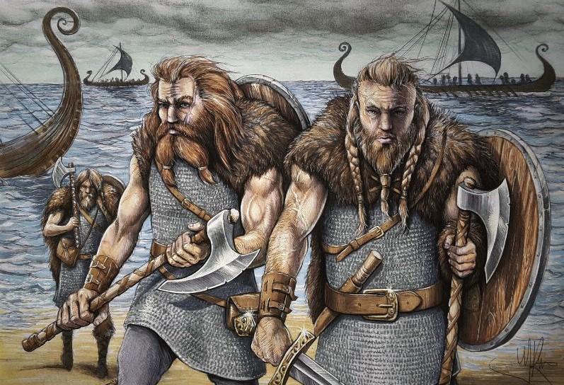 Schildering van de noormannen, de vikings. Geschilderd door kunstenaar Jaap Roos.