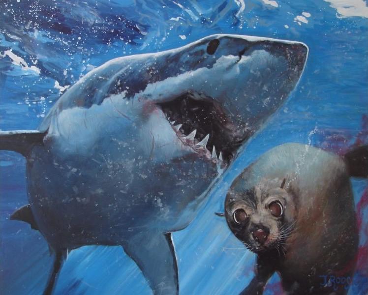 Dierenschilderij zeer realistisch gemaakt door natuurschilder Jaap Roos. De grote witte haai volgt zijn prooi de zeehond