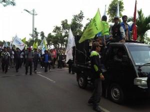ILUSTRASI aksi buruh dalam rangka May Day
