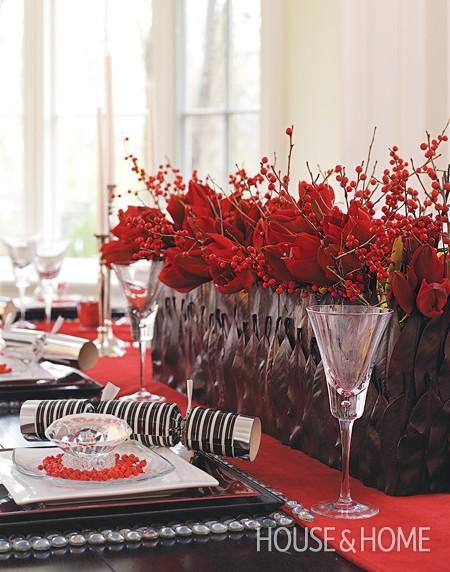 Decoración navidad en tonos rojos