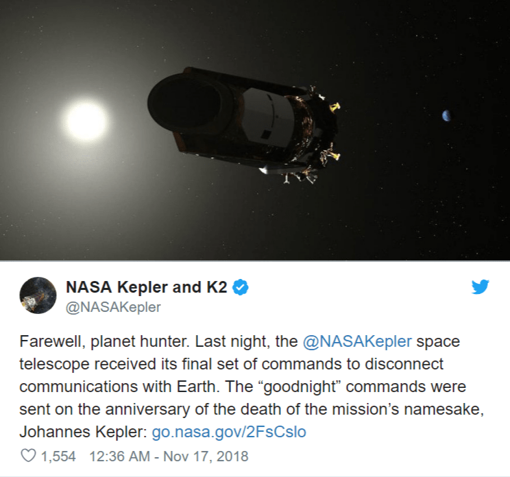 Nasa s first planet hunter Kepler space telescope twitter