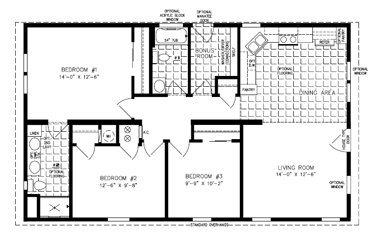 Manufactured Home Floor Plan The Imperial  E  A Model Imp B  Bedrooms