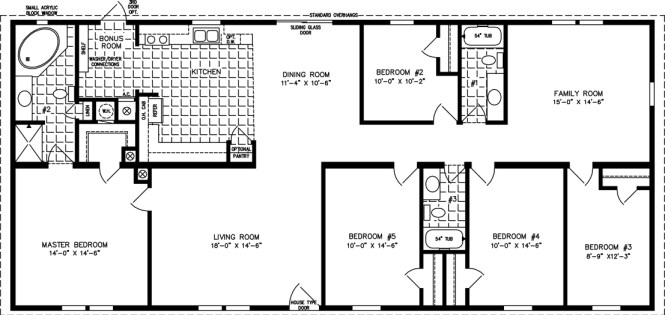 Manufactured Home Floor Plan The T N R Model Tnr 4686w 5 Bedrooms 3 Exterior Rendering Jacobsen Homes