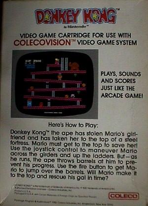 Nintendo Donkey Kong For Colecovision Jack Berg Sales