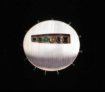 5.88 'Love Seeds - Spring' 1997. Brooch; white metal, tourmaline, malachite, agate