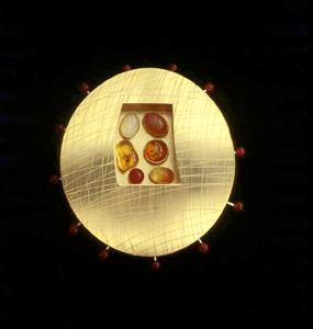 5.90 'Love Seeds - Autumn' 1997. Brooch; white metal, tourmaline, malachite, agate