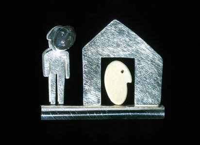 'Mask l' 2000. Brooch; white metal, bone, moonstone