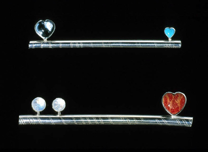 6.48 'Balance' 2000. Brooches; white metal, cultured pearl, bone