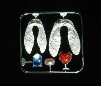 6.8 'Love Kit' 2000. Brooch; white metal, cultured pearl, aquamarine, sponge coral