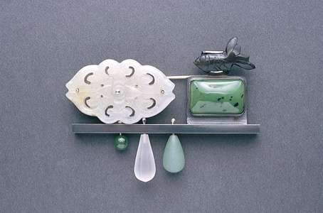 6.97 'The Peak' 2003. Brooch; white metal, obsidian, jade, nephrite, rock crystal