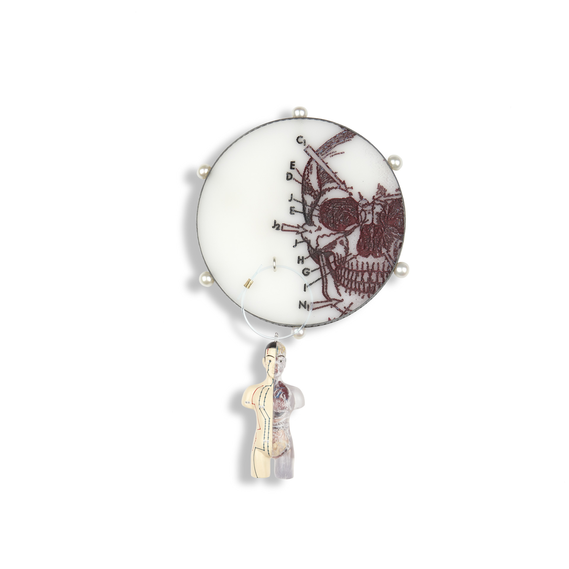 'Fragments & Curiosities' 2011. Brooch; Oxidised silver, Perspex, cultured pearl, 18ct Y gold detail, readymade