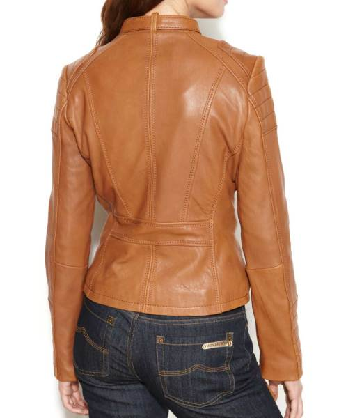 womens-buckle-collar-brown-leather-motorcycle-jacket