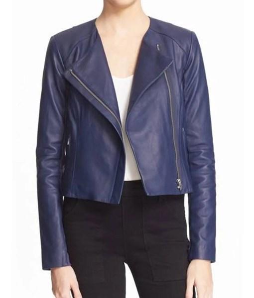 felicity-smoak-blue-leather-jacket