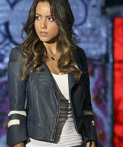daisy-johnson-blue-leather-jacket