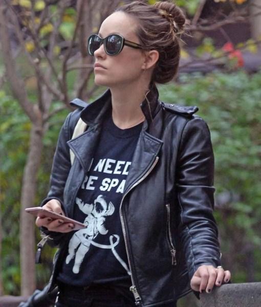 olivia-wilde-vinyl-leather-jacket